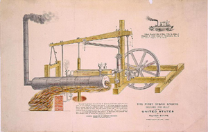 1893 illustration of Oliver Evans' patent of a steam engine. From the Library of Congress