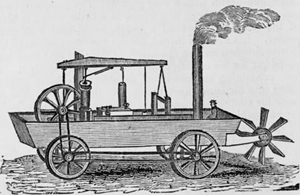 1805 Amphibious steam-powered carriage and paddle boat designed by American inventor Oliver Evans (1775-1819)