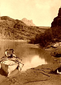 John Wesley Powell's boat on the Colorado River in 1872