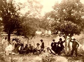 Preparing a meal in the Civil War, 1865.