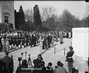 President Roosevelt and General Pershing lead the nation in observing Armistice Day on November 11, 1936. Library of Congress