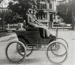 Stanley Twins in First Car, photo from the Stanley Museum
