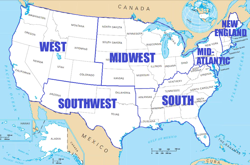 A Summary Of The Geography Of The United States Of America - Us map divided into 4 regions