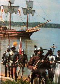 Spanish explorers landing in America