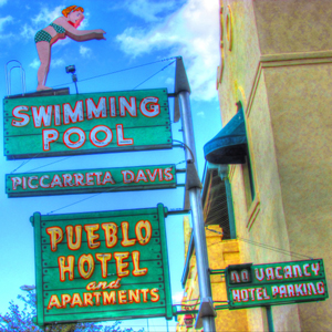 Pueblo Hotel Vintage Sign, by Jeroen and Maggie Boersma