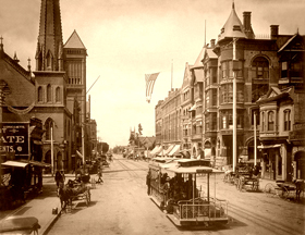 Broadway Street in Los Angeles at the turn of the century.