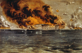 Bombarding Fort Sumter, April, 1861 by Currier & Ives