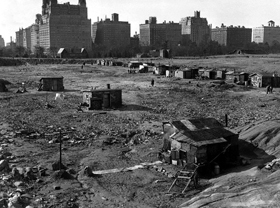 Hooverville in Central Park, New York City.