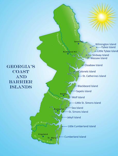 A Tour Along The Georgia Coast - Map of georgia coast