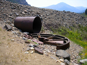 Yankee Fork, Idaho tailings and mining equipment