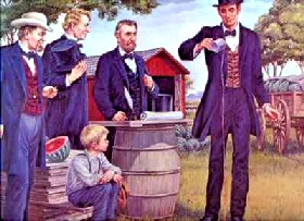 Painting of Abraham Lincoln christening the brand new town of Lincoln, Illinois