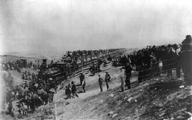 People line up for the Oklahoma Land Run in Caldwell, Kansas