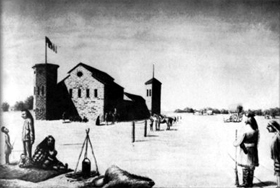 Old drawing of Fort Zarah