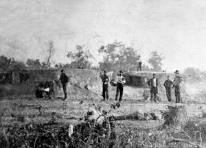 Soldiers and fortifications at Battery Robinett, Corinth, Mississippi.