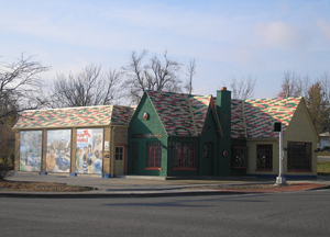 Restored Phillips 66 station with murals, Cuba, Missouri