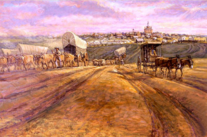 Trails Leaving Independence by Charles Goslin mural hangs in the National Trails Museum in Independence, Missouri.