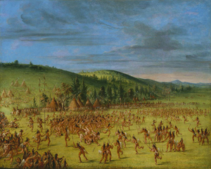 """George Catlin painting """"Ball Play of the Choctaws-Ball Up, circa 1846-1850"""