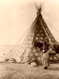 Blackfoot Indian and Teepee
