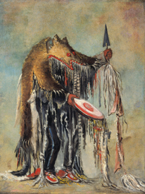 Blackfoot-Siksika Medicine Man Performing his Mysteries over a Dying Man, by George Catlin, 1832