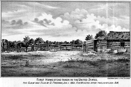 The first homestead by addison erwin sheldon for Kansas homestead act
