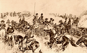 Boomers entering Oklahoma Territory, 1905, John D. Morris and  Company