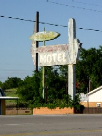 Vintage Route 66 motel sign in Clinton, Oklahoma