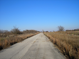 Abandoned section of Route 66 in Hext, Oklahoma
