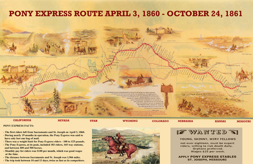 pony express route map poster