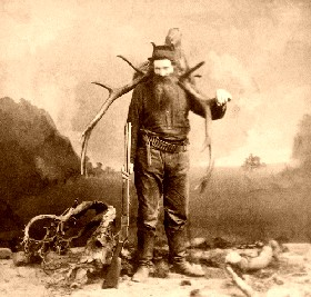 A mountain man after returning to camp, 1880.