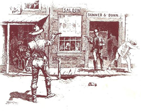 Gunfight in the street.