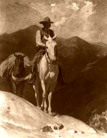 Horse rider in the mountains, W. Herbert Dunton 1913