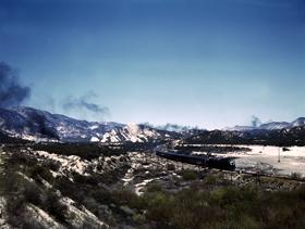 Santa Fe Railroad through the Cajon Pass, California, 1943