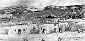 An old drawing of Adobe Walls.
