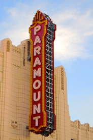 The old Paramount Theatre sign in downtown, Amarillo, Texas