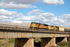 Union Pacific train at Fort Steele, Wyoming, Sept 2009, Kathy Weiser
