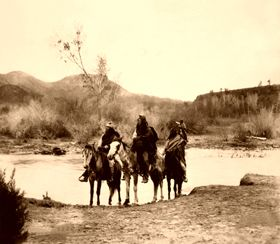 Apache at the Ford, Edward S. Curtis, 1903