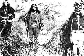 Apache Kid (middle) with two other Indian Scouts.
