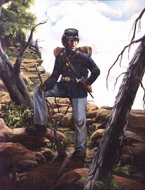 Artist rendition of Cathay Williams by John Will Davis