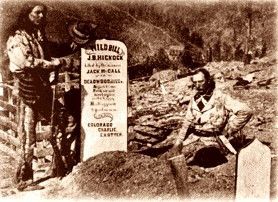 Charlie Utter at Wild Bill Hickock's grave