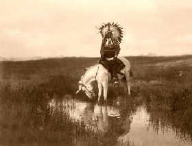Cheyenne Indian at the Valley of the Rosebud, by Edward S. Curtis