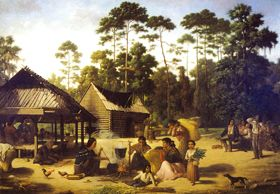 Choctaw Village by Francois Bernard, 1869