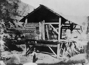 James Marshall at Sutter's Sawmill, Coloma, California, 1851.