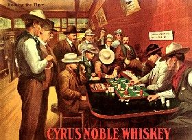 Cyrus Noble Whiskey Ad showing Faro Players