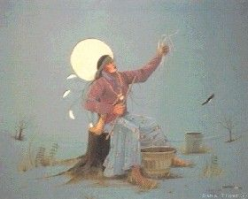 The Ritual Traditions of the Human Women, watercolor by Dana Tiger, courtesy Native American Artists