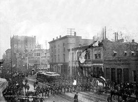 Militia en route to City Hall, Denver, Colorado, 1894