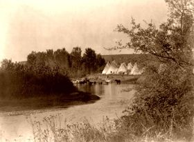 Tipis on the Little Bighorn River