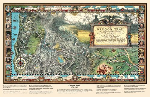 Reproduction vintage Oregon Trail Poster Map