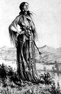 Sacagawea drawing by E.S. Paxson