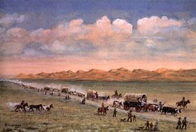 Oregon Trail pioneers pass through the sand hills, painting by William Henry Jackson