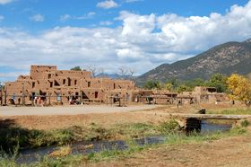 Taos Pueblo and river, New Mexico